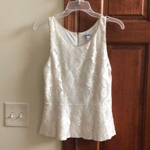 Express White Peblum Lacey Shirt